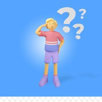 Personagem de renderização 3d com pergunta