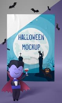 Personagem de vampiro ao lado da maquete de pôster de halloween