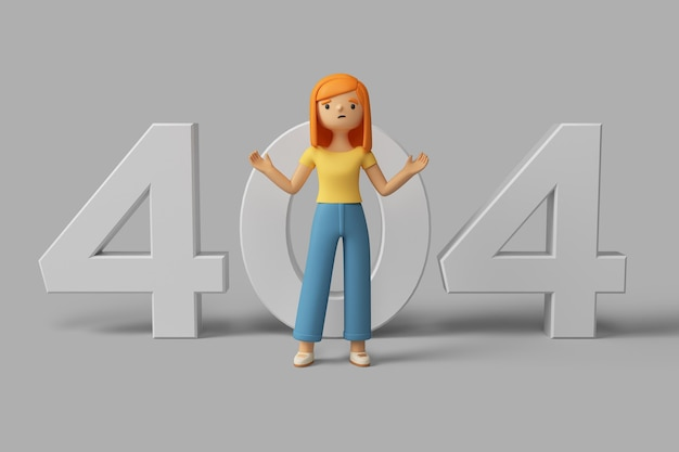 Personagem feminina 3d com mensagem de erro 404