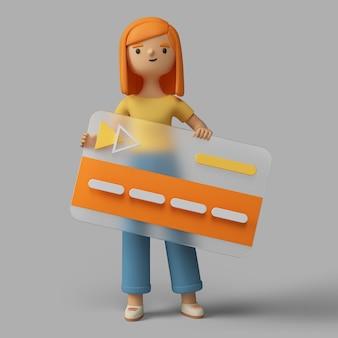 Personagem feminina 3d segurando um cartaz com o botão de reprodução de vídeo