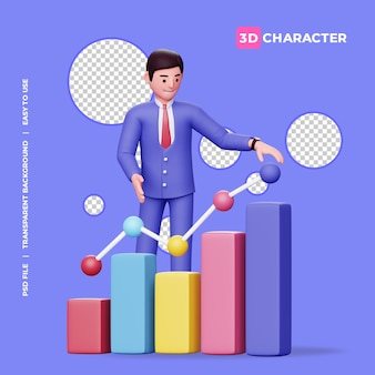 Personagem masculina 3d com gráfico de velas colorido