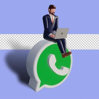 Personagem masculina 3d está digitando no laptop e sentado no logotipo do whatsapp.