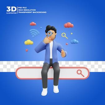 Personagem masculina 3d procurando informações na internet com o ícone da caixa de pesquisa premium psd
