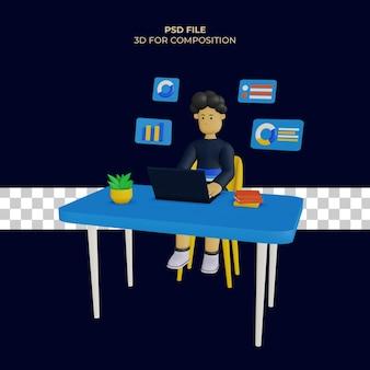 Personagem masculino 3d na frente do laptop estudando dados e há um gráfico de pizza psd