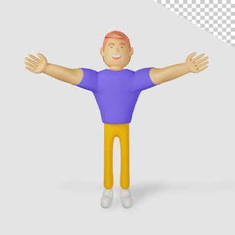 Personagem masculino 3d precisa de um abraço