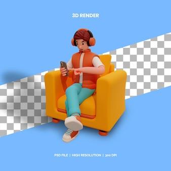 Personagem masculino 3d sentado na cadeira com fones de ouvido e ouvir música