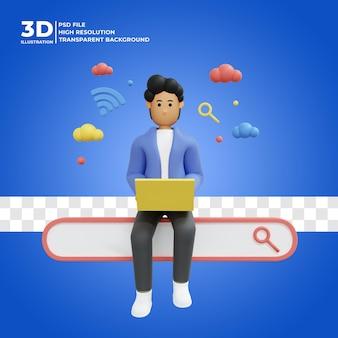 Personagem masculino 3d trabalhando usando a barra de pesquisa freelancer do laptop renderização 3d premium psd
