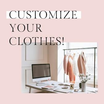 Personalize o seu modelo de roupas psd para postagem nas redes sociais