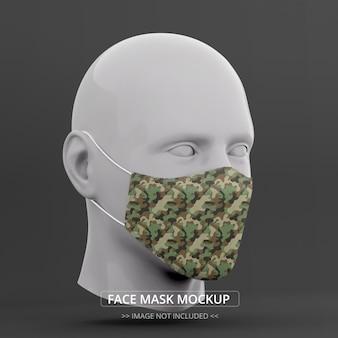 Perspectiva de maquete de máscara facial realista vista lateral direita