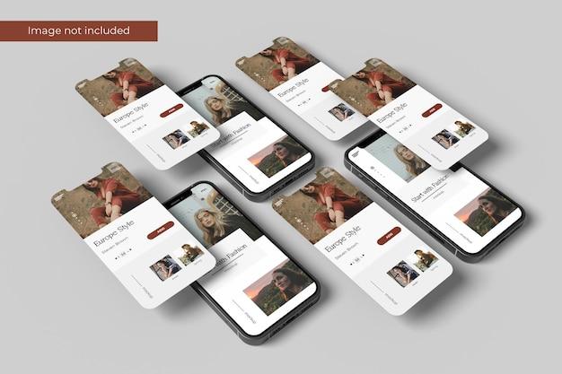 Perspectiva de smartphone e design de maquete de tela em renderização 3d