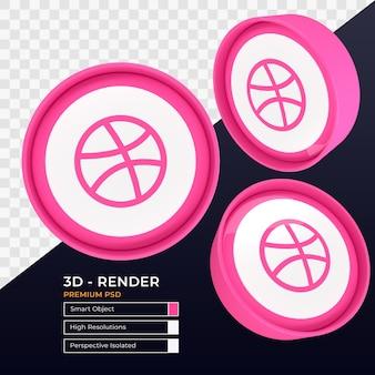 Perspectiva do ícone do dribbble renderização 3d isolada
