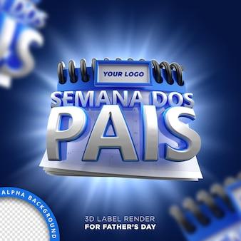 Perspectiva frontal carimbo pais semana campanha calendário 3d render