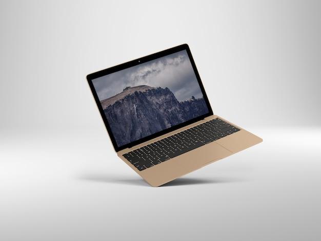 Perspectiva laptop em fundo branco maquete
