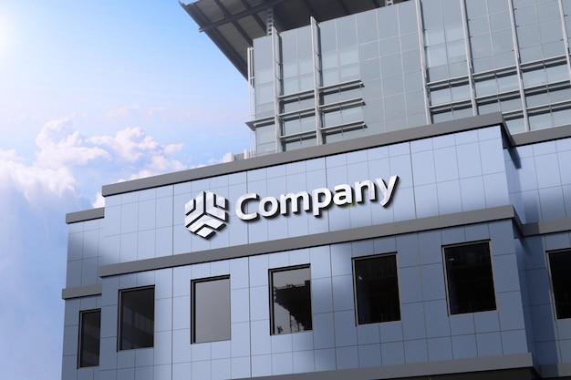Perspectiva maquete do logotipo em 3d em um edifício moderno