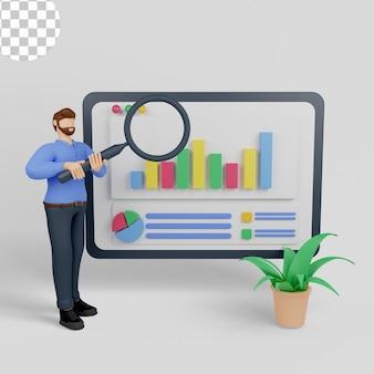 Pesquisa de marketing de ilustração 3d com um homem segurando uma lupa