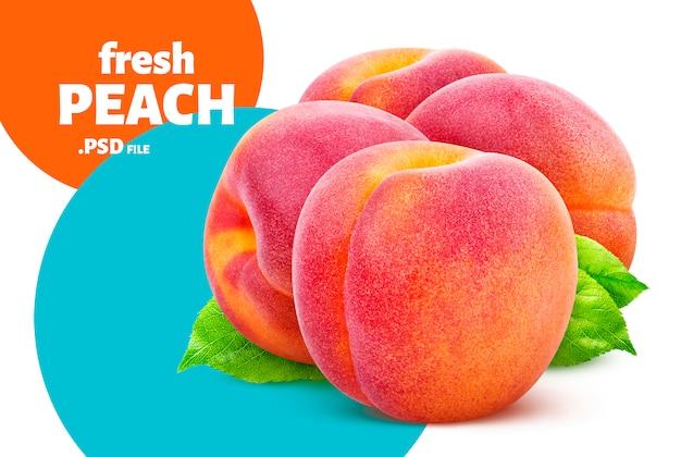 Pêssego isolado, design de frutas para embalagem