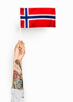 Pessoa acenando a bandeira do reino da noruega