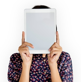 Pessoa, segurando, tabuleta, rosto, conceito