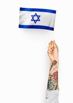 Pessoa, waving, a, bandeira, de, estado israel