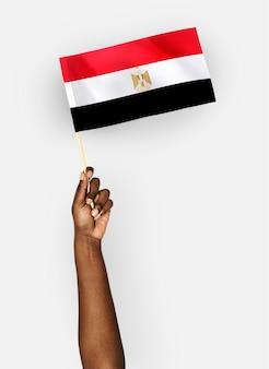 Pessoa, waving, bandeira, árabe, república, egito