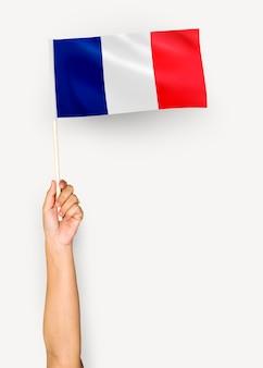 Pessoa, waving, bandeira, de, república francesa