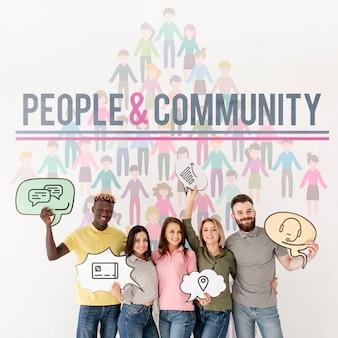 Pessoas e comunidade com bolhas de bate-papo