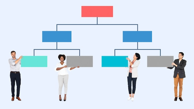 Pessoas negócio, com, um, organizacional, mapa