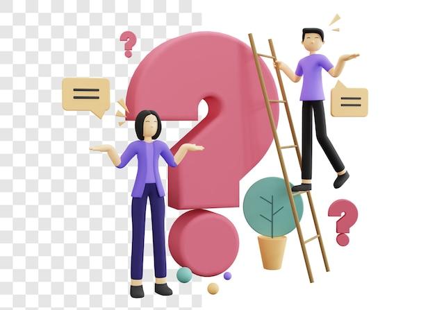 Pessoas perguntando conceito ilustração 3d