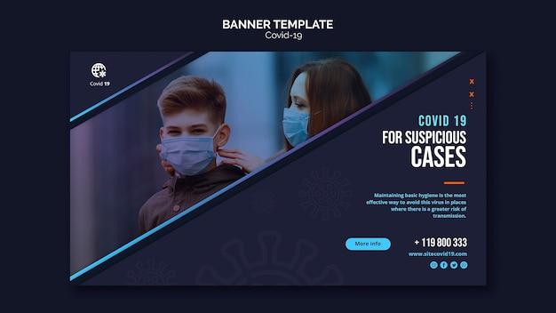 Pessoas que usam máscaras ao ar livre banner modelo