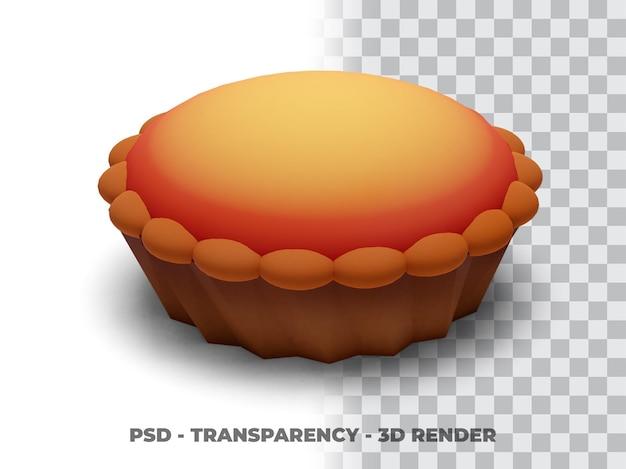 Pie 3d render com fundo de transparência