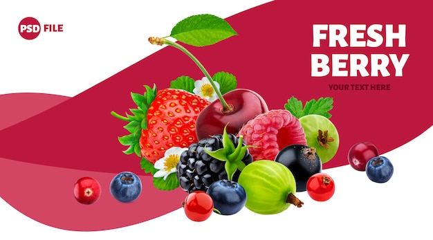 Pilha de banner de diferentes frutos silvestres