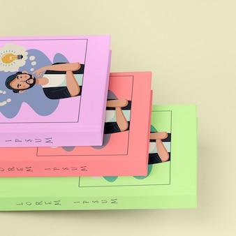 Pilha de close-up de maquetes de livros diferentes