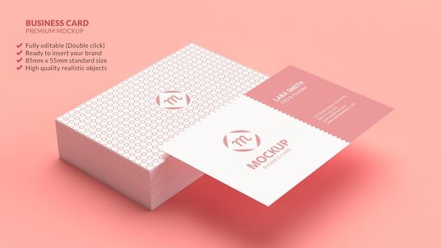 Pilha de conceito de design de marca de maquete de cartão de visita