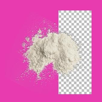 Pilha de farinha isolada em fundo transparente