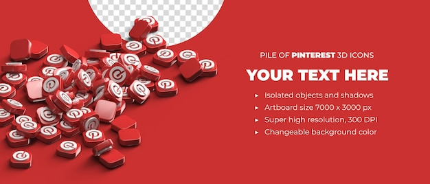 Pilha de ícones de botão de logotipo pinterest 3d espalhados conceito de mídia social com espaço de copyspace