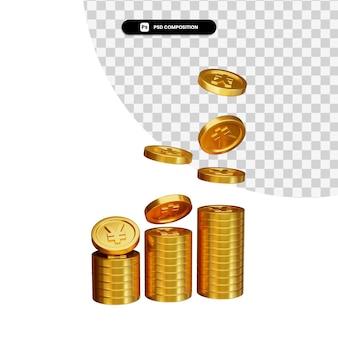 Pilha de ienes de moedas de ouro em renderização 3d isolada
