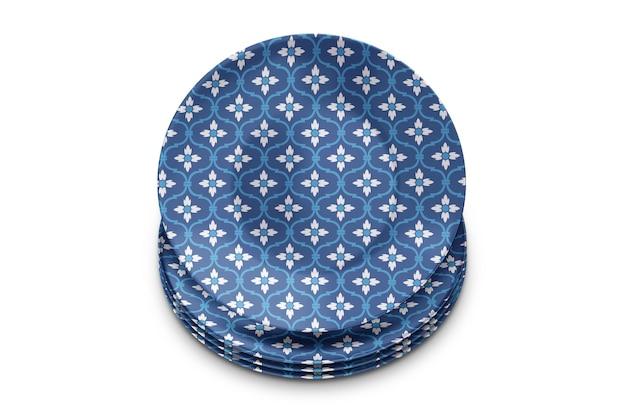 Pilha de maquete 3d de pratos de porcelana