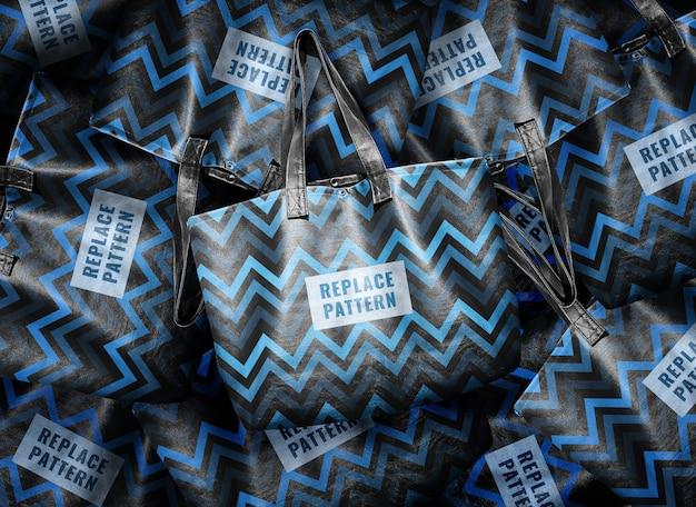 Pilha de maquete de sacola de couro