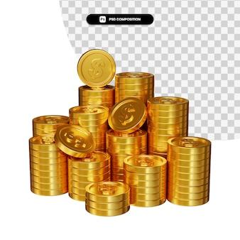 Pilha de moedas de ouro de dólar em renderização 3d isolada
