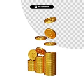Pilha de moedas de ouro em renderização 3d isolada Psd Premium
