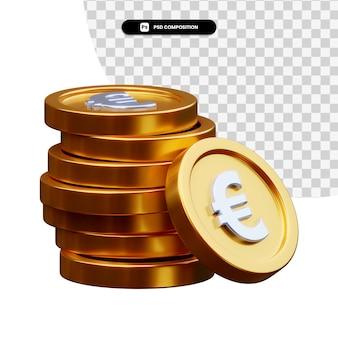 Pilha de moedas de ouro em renderização 3d isolada