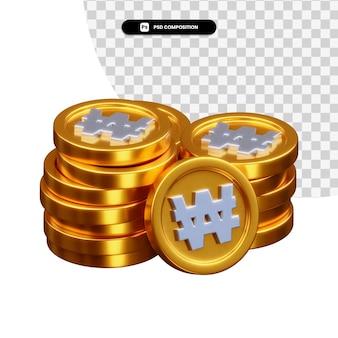 Pilha de moedas de ouro renderização em 3d isolada