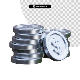 Pilha de moedas de prata renderização em 3d isolada