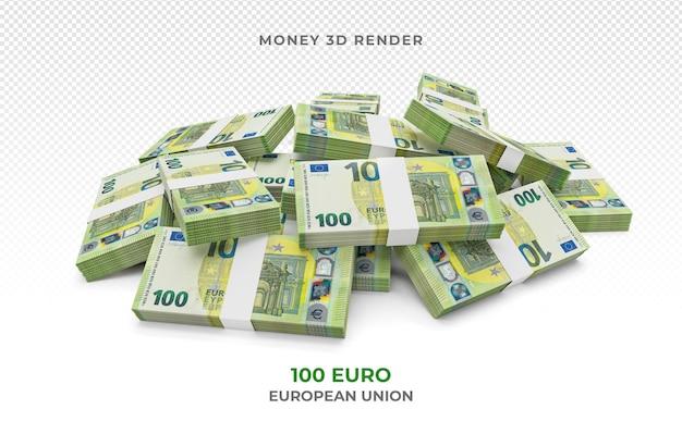 Pilha de notas de 100 euros, dinheiro, renderização em 3d