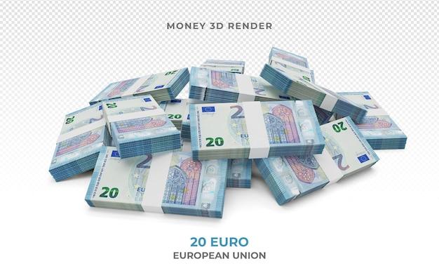 Pilha de notas de 20 euros, dinheiro, renderização em 3d