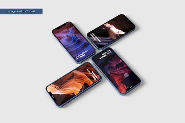 Pilha maquete de smartphone para apresentar seu projeto