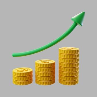 Pilhas 3d de moedas de dólar com seta de crescimento