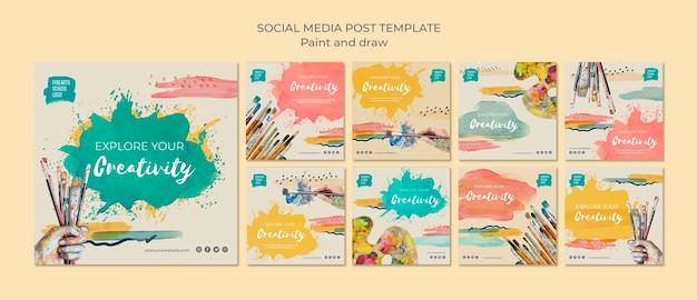 Pincéis e cores post de mídia social