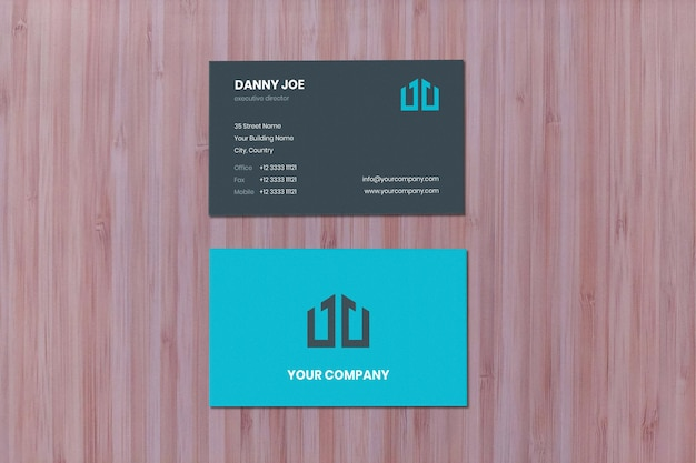 Pinewood layer surface vertical businesscard mockup