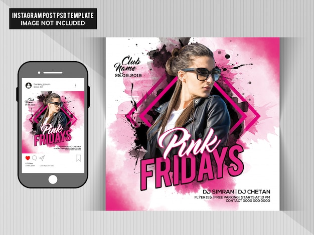 Pink fridays party flyer